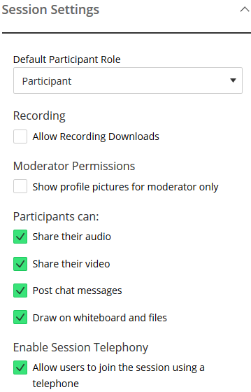 Collaborate Ultra permissions list